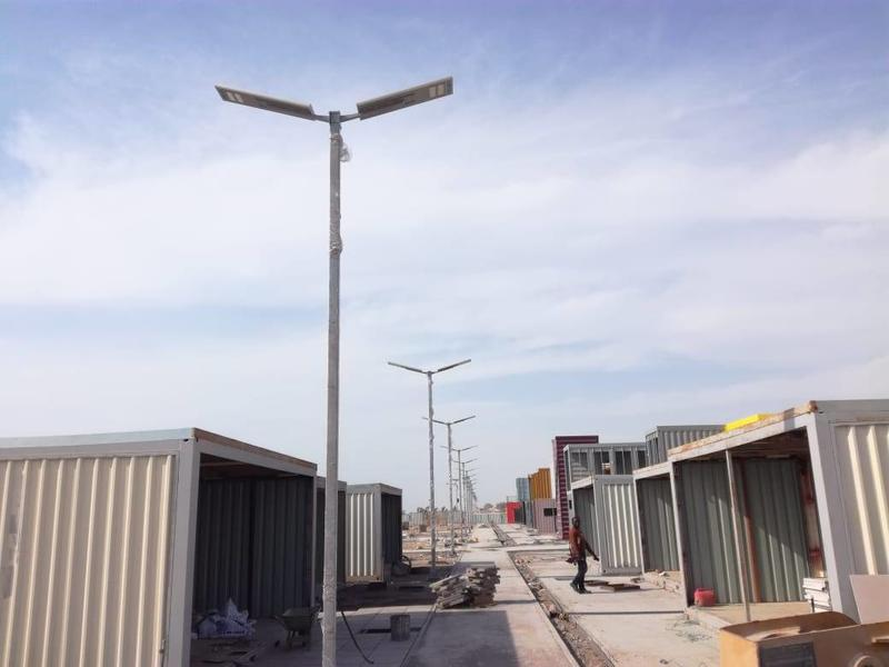 Double 80W solar street light in Box Park In Umm Al Quain , UAE