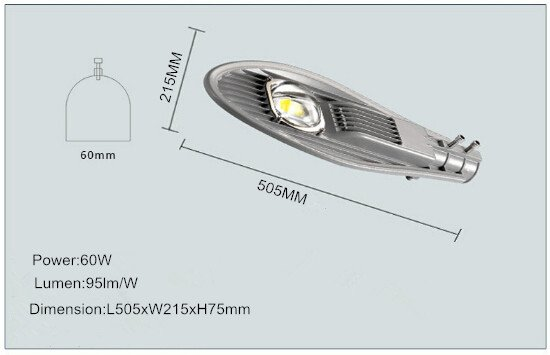 led street light housing with one LED chip